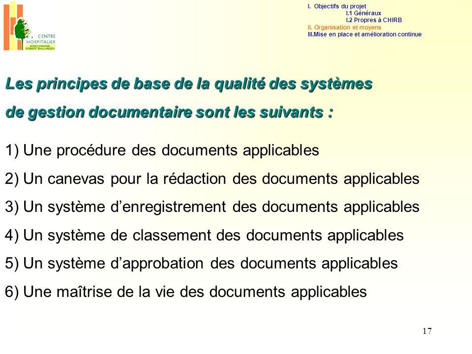 17 1) Une procédure des documents applicables 2) Un canevas pour la rédaction des documents applicables 3) Un système denregistrement des documents ap