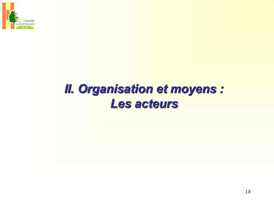 18 II. Organisation et moyens : Les acteurs