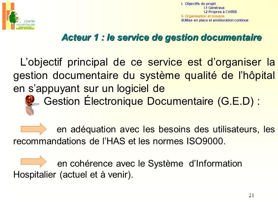 21 Acteur 1 : le service de gestion documentaire Lobjectif principal de ce service est dorganiser la gestion documentaire du système qualité de lhôpit