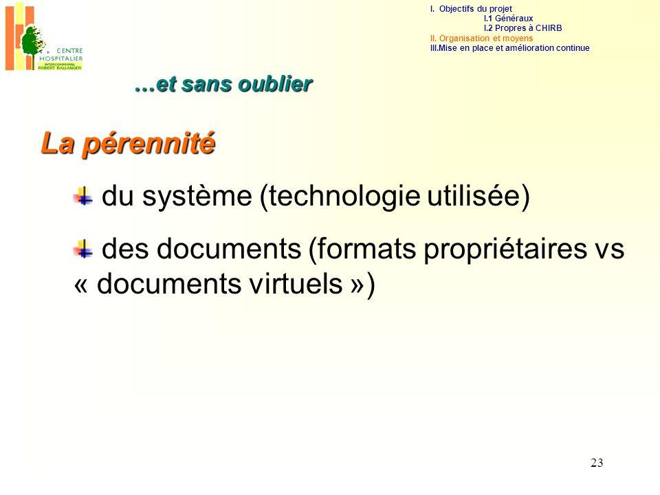 23 La pérennité du système (technologie utilisée) des documents (formats propriétaires vs « documents virtuels ») …et sans oublier I. Objectifs du pro
