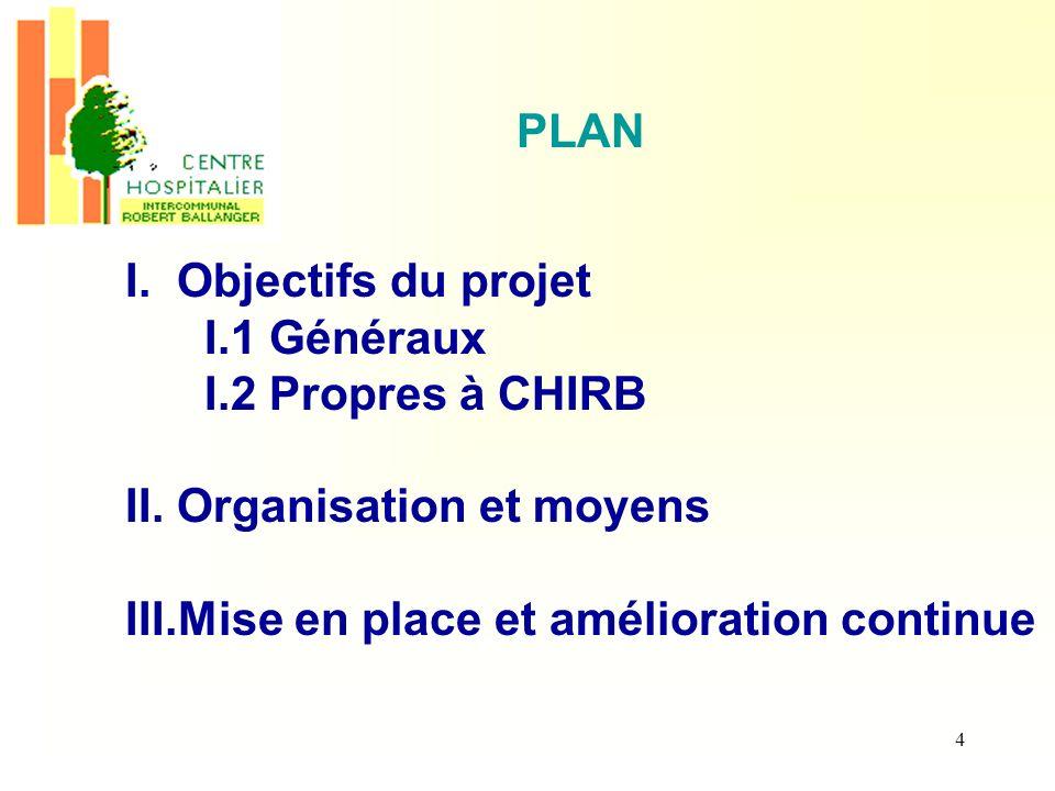 4 PLAN I. Objectifs du projet I.1 Généraux I.2 Propres à CHIRB II. Organisation et moyens III.Mise en place et amélioration continue