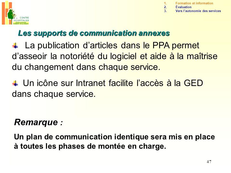 47 Les supports de communication annexes Remarque : Un plan de communication identique sera mis en place à toutes les phases de montée en charge. La p