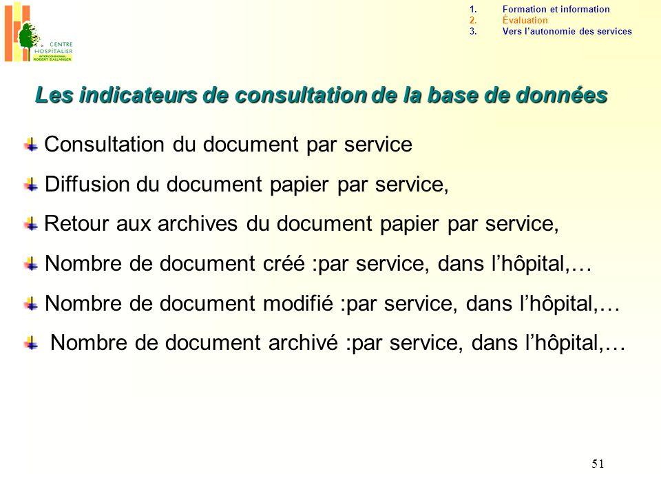 51 Les indicateurs de consultation de la base de données Consultation du document par service Diffusion du document papier par service, Retour aux arc