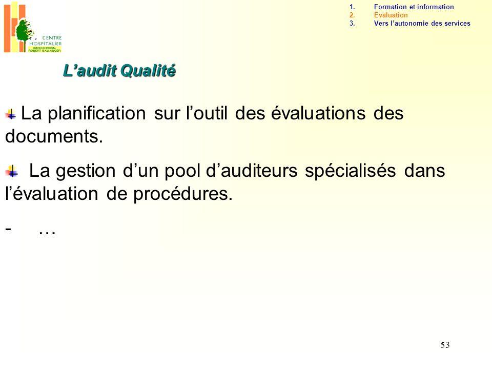 53 Laudit Qualité La planification sur loutil des évaluations des documents. La gestion dun pool dauditeurs spécialisés dans lévaluation de procédures
