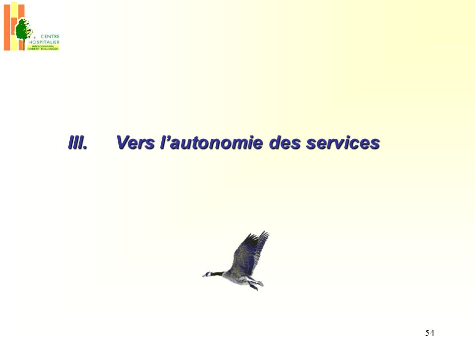 54 III.Vers lautonomie des services