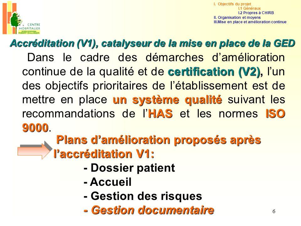 7 La mise en place dune gestion documentaire maîtrisée et organisée, se base sur les conclusions du rapport daccréditation du CHIRB de 2003.