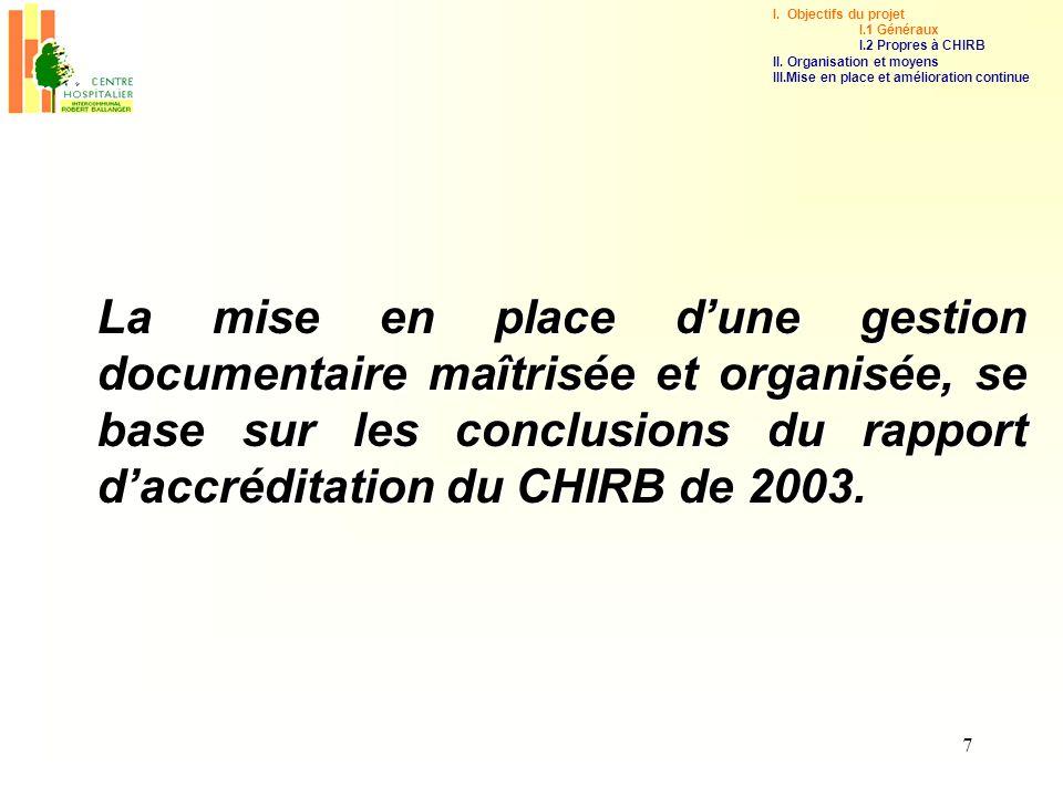 7 La mise en place dune gestion documentaire maîtrisée et organisée, se base sur les conclusions du rapport daccréditation du CHIRB de 2003. I. Object