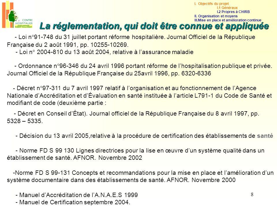 8 - Loi n°91-748 du 31 juillet portant réforme hospitalière. Journal Officiel de la République Française du 2 août 1991, pp. 10255-10269. - Loi n° 200