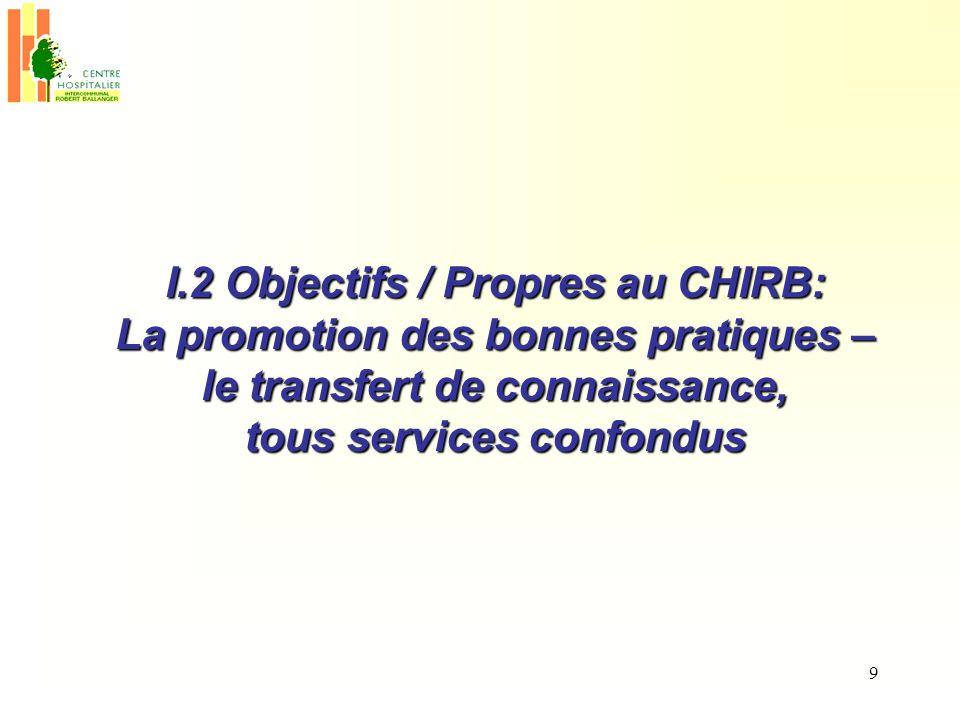 9 I.2 Objectifs / Propres au CHIRB: La promotion des bonnes pratiques – le transfert de connaissance, tous services confondus