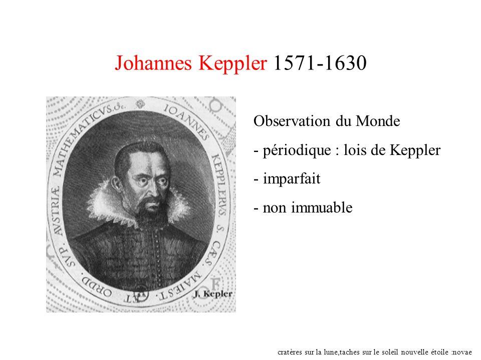 Johannes Keppler 1571-1630 Observation du Monde - périodique : lois de Keppler - imparfait - non immuable cratères sur la lune,taches sur le soleil no