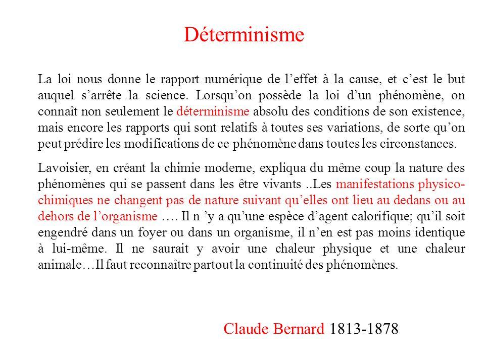 Claude Bernard 1813-1878 La loi nous donne le rapport numérique de leffet à la cause, et cest le but auquel sarrête la science. Lorsquon possède la lo