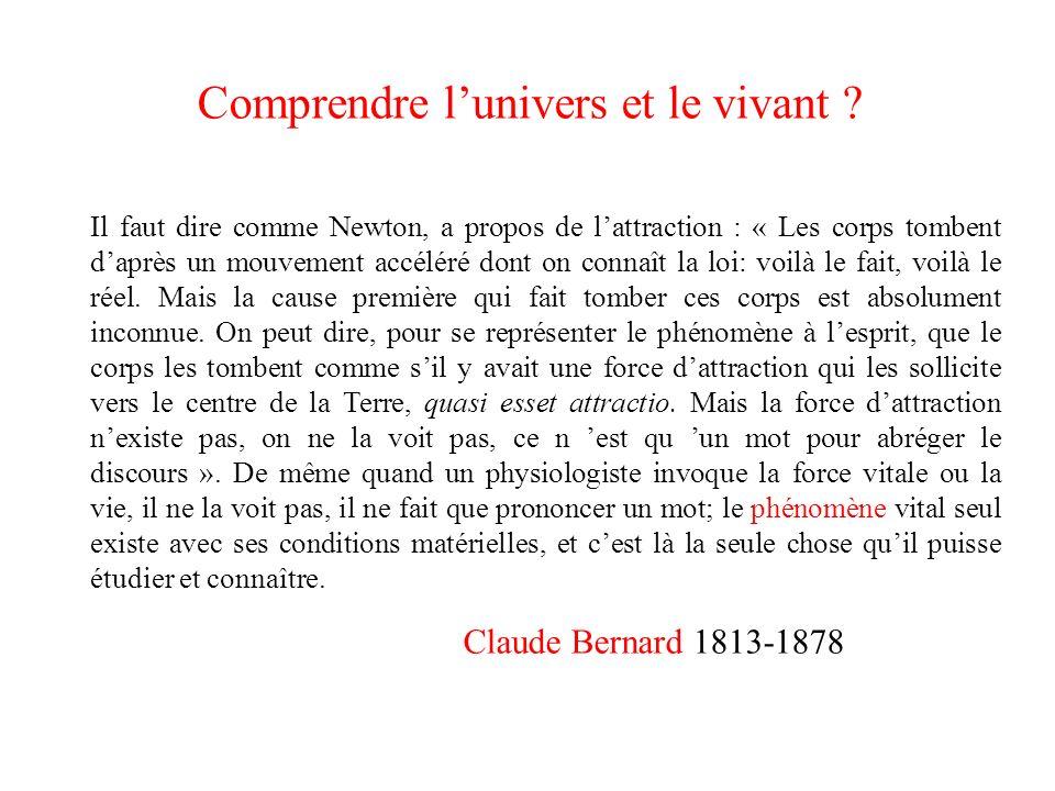 Claude Bernard 1813-1878 Il faut dire comme Newton, a propos de lattraction : « Les corps tombent daprès un mouvement accéléré dont on connaît la loi: