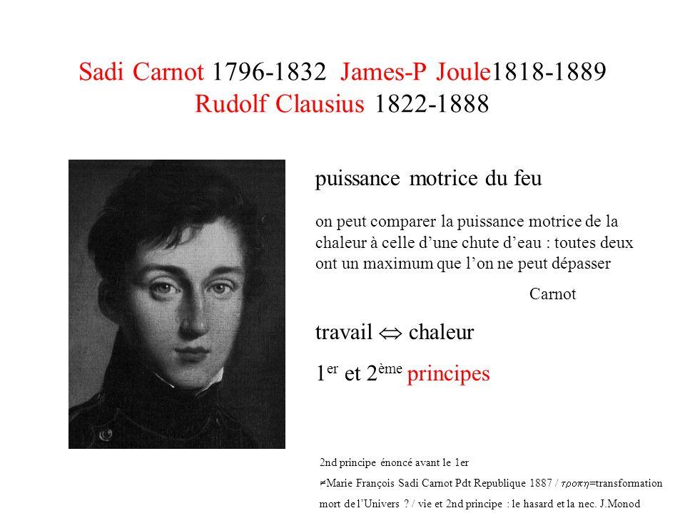 Sadi Carnot 1796-1832 James-P Joule1818-1889 Rudolf Clausius 1822-1888 puissance motrice du feu on peut comparer la puissance motrice de la chaleur à