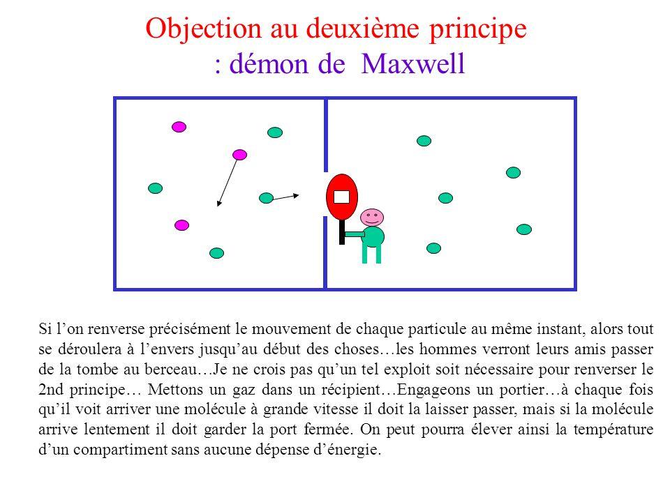 Objection au deuxième principe : démon de Maxwell Si lon renverse précisément le mouvement de chaque particule au même instant, alors tout se dérouler