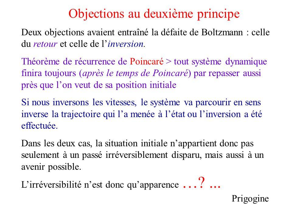 Objections au deuxième principe Deux objections avaient entraîné la défaite de Boltzmann : celle du retour et celle de linversion. Théorème de récurre