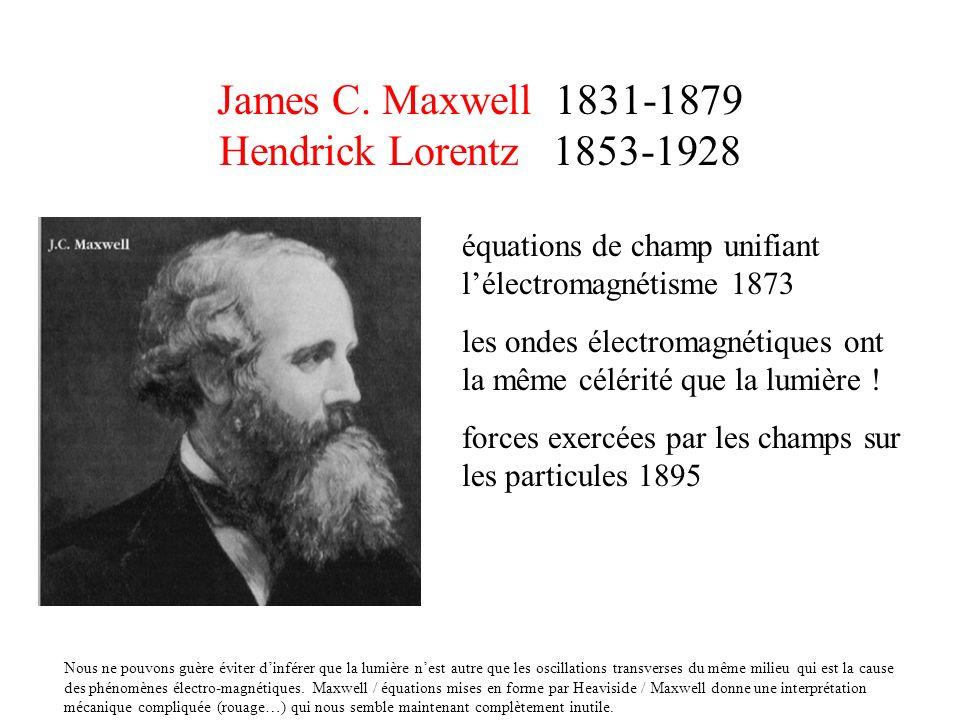 James C. Maxwell 1831-1879 Hendrick Lorentz 1853-1928 équations de champ unifiant lélectromagnétisme 1873 les ondes électromagnétiques ont la même cél