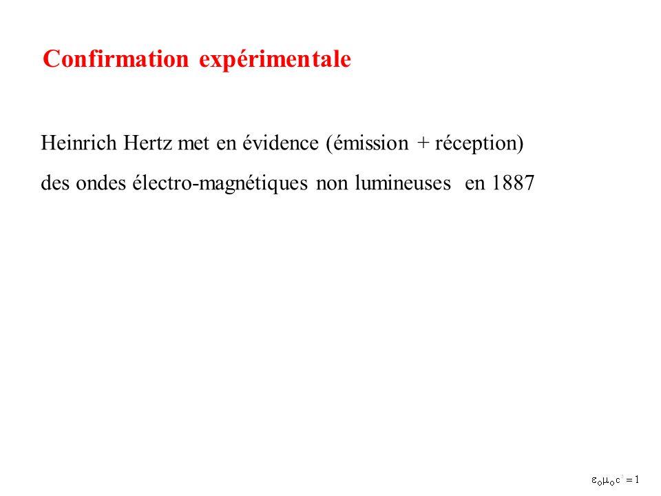 Confirmation expérimentale Heinrich Hertz met en évidence (émission + réception) des ondes électro-magnétiques non lumineuses en 1887