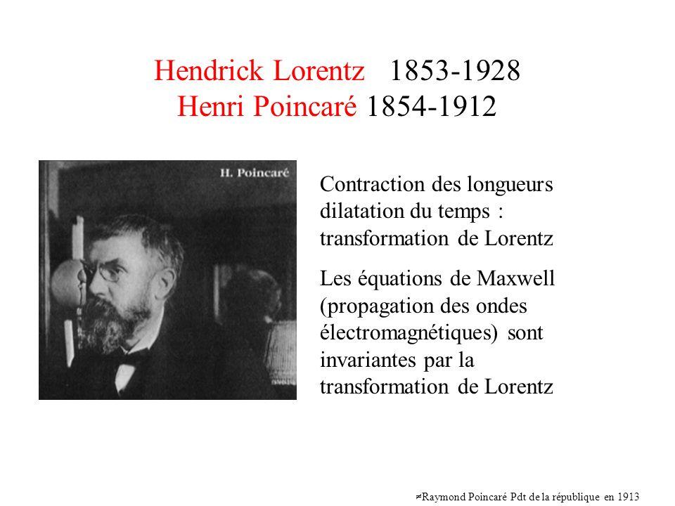 Hendrick Lorentz 1853-1928 Henri Poincaré 1854-1912 Contraction des longueurs dilatation du temps : transformation de Lorentz Les équations de Maxwell