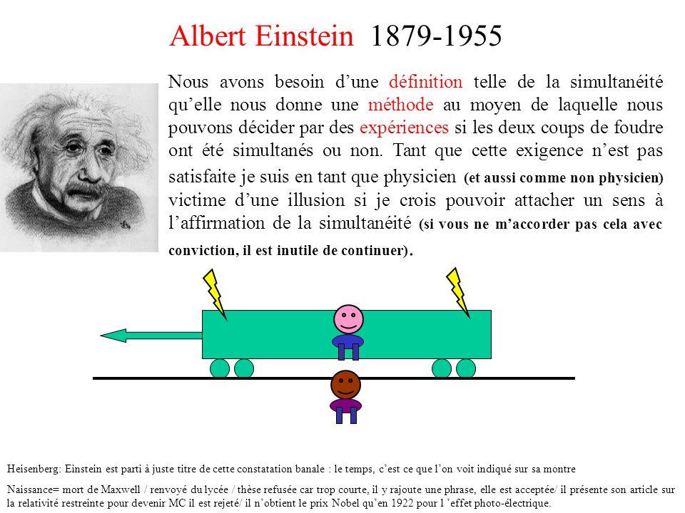 Albert Einstein 1879-1955 Nous avons besoin dune définition telle de la simultanéité quelle nous donne une méthode au moyen de laquelle nous pouvons d