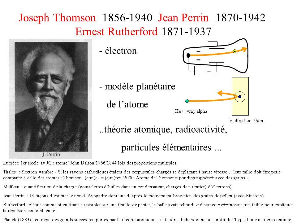 Joseph Thomson 1856-1940 Jean Perrin 1870-1942 Ernest Rutherford 1871-1937 - électron - modèle planétaire de latome..théorie atomique, radioactivité,
