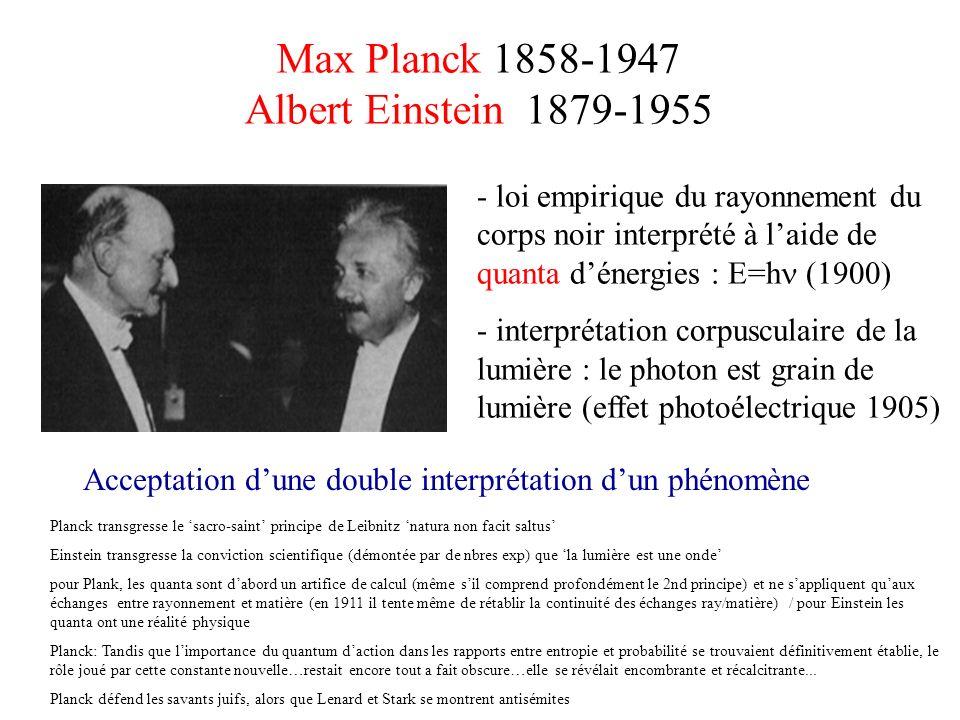 Max Planck 1858-1947 Albert Einstein 1879-1955 - loi empirique du rayonnement du corps noir interprété à laide de quanta dénergies : E=h (1900) - inte
