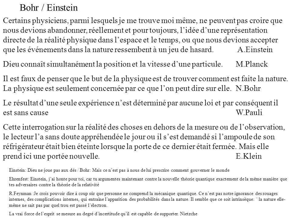 Bohr / Einstein Certains physiciens, parmi lesquels je me trouve moi même, ne peuvent pas croire que nous devions abandonner, réellement et pour toujo