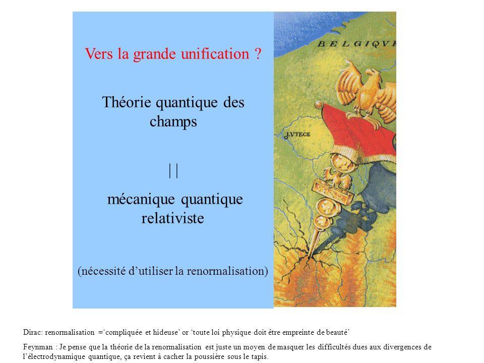 Vers la grande unification ? Théorie quantique des champs | mécanique quantique relativiste (nécessité dutiliser la renormalisation) Dirac: renormalis