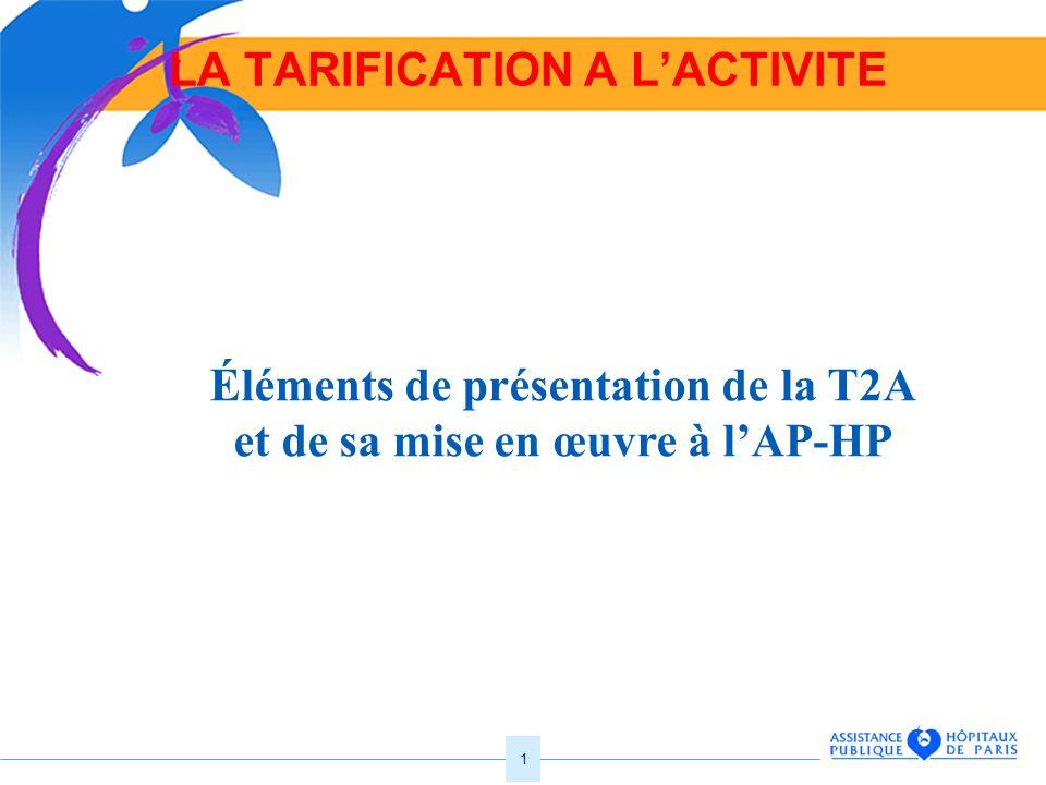 1 LA TARIFICATION A LACTIVITE Éléments de présentation de la T2A et de sa mise en œuvre à lAP-HP