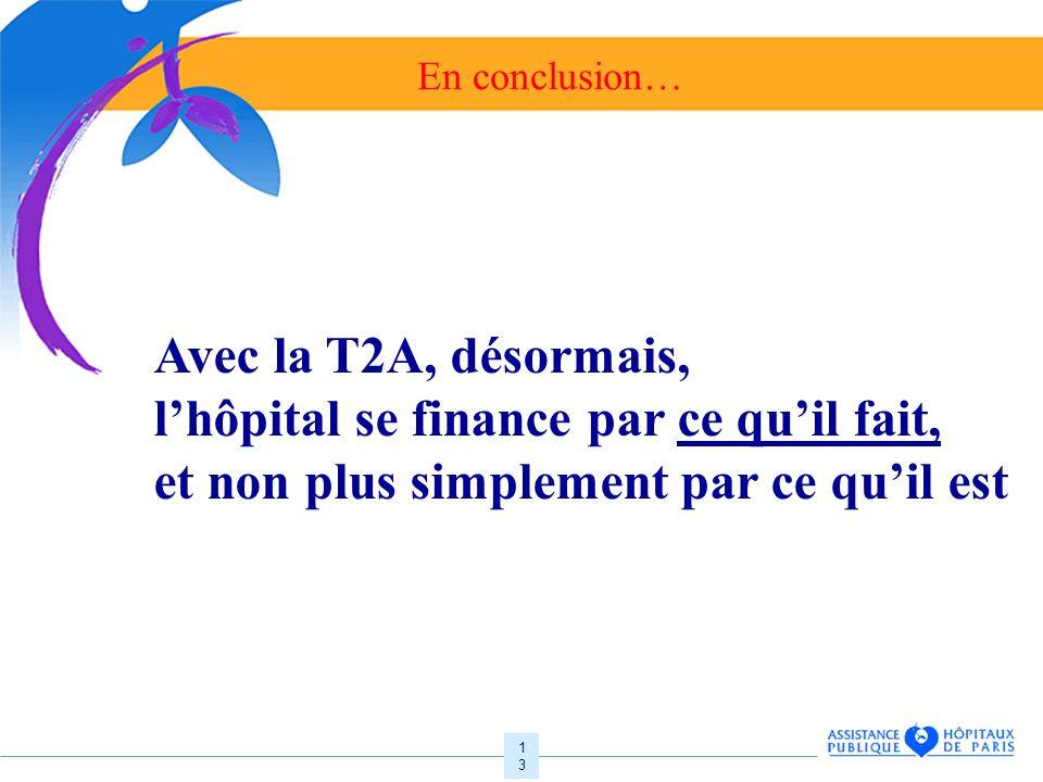 13 En conclusion… Avec la T2A, désormais, lhôpital se finance par ce quil fait, et non plus simplement par ce quil est