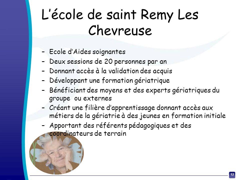 12 Lécole de saint Remy Les Chevreuse –Ecole dAides soignantes –Deux sessions de 20 personnes par an –Donnant accès à la validation des acquis –Dévelo