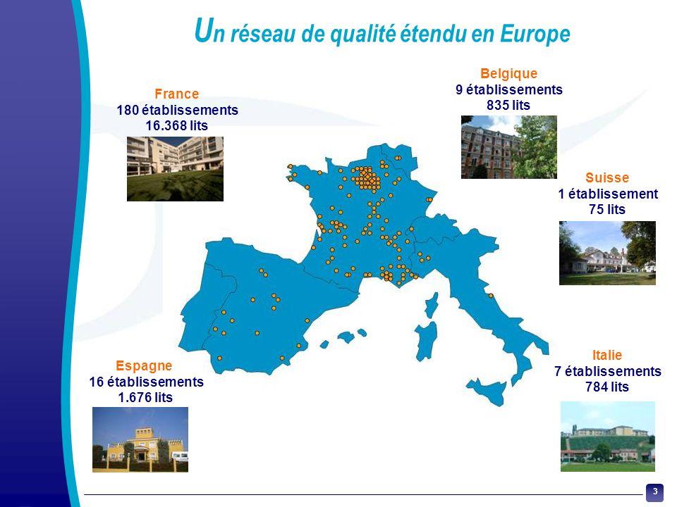 3 U n réseau de qualité étendu en Europe Espagne 16 établissements 1.676 lits Italie 7 établissements 784 lits Suisse 1 établissement 75 lits Belgique
