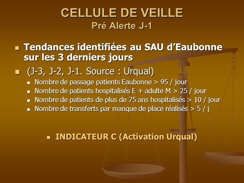 CELLULE DE VEILLE Pré Alerte J-1 Tendances identifiées au SAU dEaubonne sur les 3 derniers jours Tendances identifiées au SAU dEaubonne sur les 3 dern