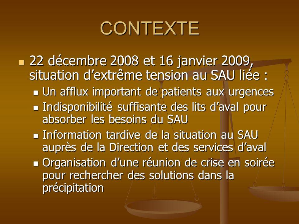 CONTEXTE 22 décembre 2008 et 16 janvier 2009, situation dextrême tension au SAU liée : 22 décembre 2008 et 16 janvier 2009, situation dextrême tension