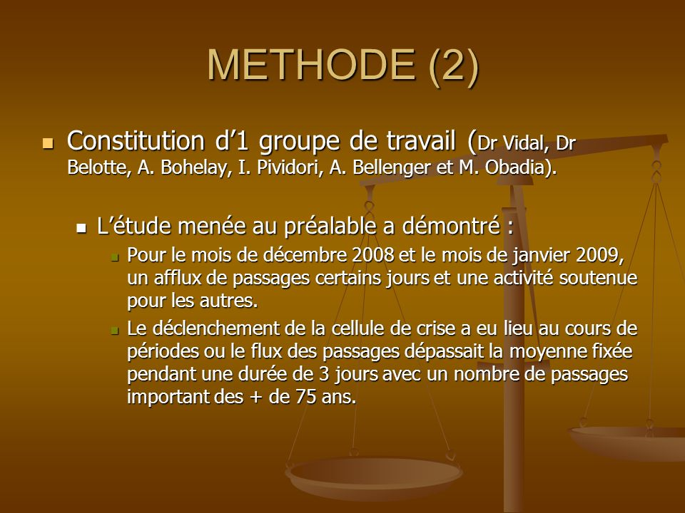 METHODE (2) Constitution d1 groupe de travail ( Dr Vidal, Dr Belotte, A. Bohelay, I. Pividori, A. Bellenger et M. Obadia). Constitution d1 groupe de t