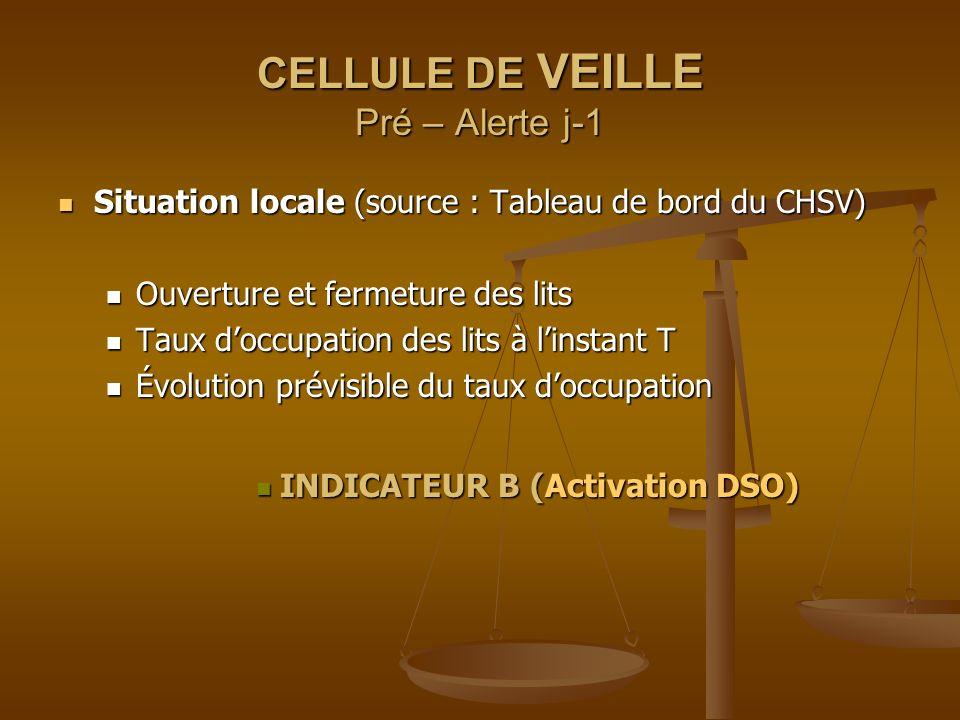 CELLULE DE VEILLE Pré – Alerte j-1 Situation locale (source : Tableau de bord du CHSV) Situation locale (source : Tableau de bord du CHSV) Ouverture e