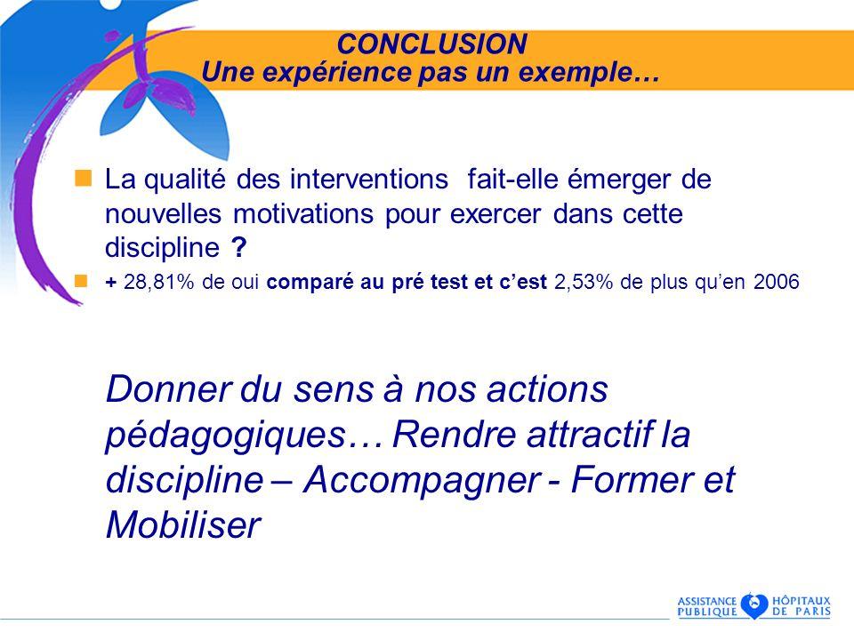 CONCLUSION Une expérience pas un exemple… La qualité des interventions fait-elle émerger de nouvelles motivations pour exercer dans cette discipline ?