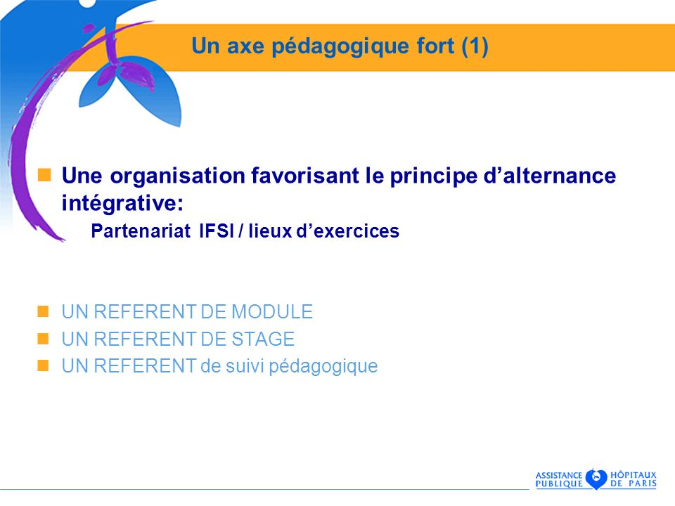 Un axe pédagogique fort (1) Une organisation favorisant le principe dalternance intégrative: Partenariat IFSI / lieux dexercices UN REFERENT DE MODULE UN REFERENT DE STAGE UN REFERENT de suivi pédagogique