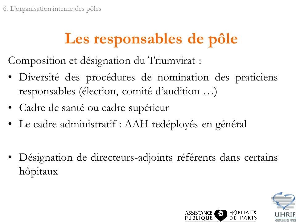 Les responsables de pôle Composition et désignation du Triumvirat : Diversité des procédures de nomination des praticiens responsables (élection, comi