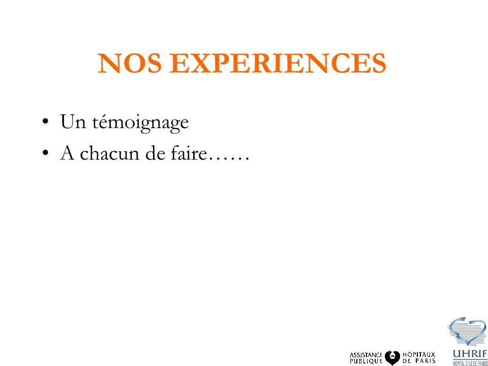 NOS EXPERIENCES Un témoignage A chacun de faire……