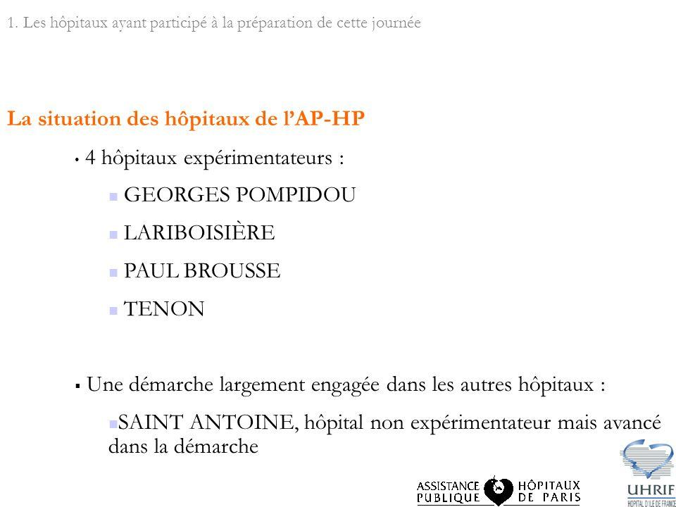 La situation des hôpitaux de lAP-HP 4 hôpitaux expérimentateurs : GEORGES POMPIDOU LARIBOISIÈRE PAUL BROUSSE TENON Une démarche largement engagée dans