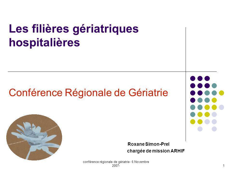 conférence régionale de gériatrie- 6 Novembre 2007- 1 Les filières gériatriques hospitalières Conférence Régionale de Gériatrie Roxane Simon-Prel char