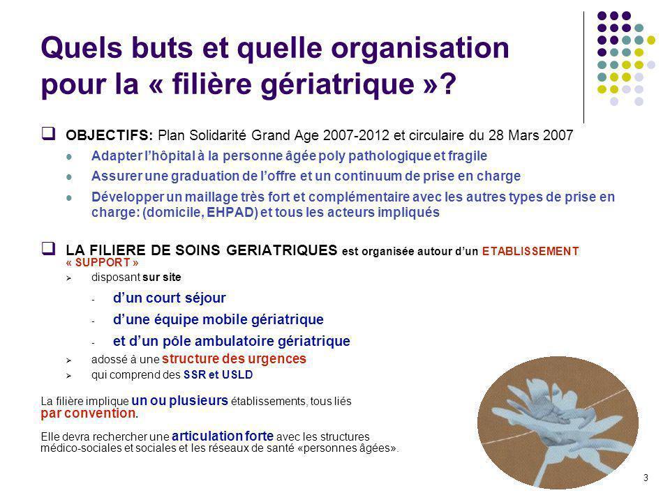 3 Quels buts et quelle organisation pour la « filière gériatrique »? OBJECTIFS : Plan Solidarité Grand Age 2007-2012 et circulaire du 28 Mars 2007 Ada