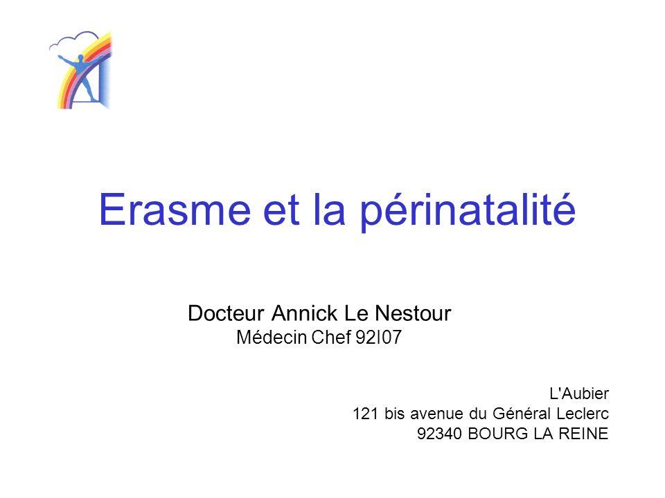 Erasme et la périnatalité Docteur Annick Le Nestour Médecin Chef 92I07 L'Aubier 121 bis avenue du Général Leclerc 92340 BOURG LA REINE