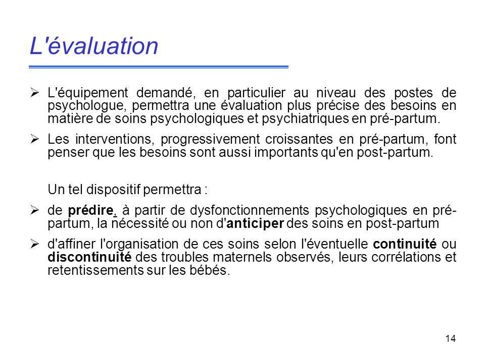 14 L'évaluation L'équipement demandé, en particulier au niveau des postes de psychologue, permettra une évaluation plus précise des besoins en matière