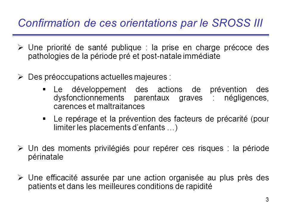 3 Confirmation de ces orientations par le SROSS III Une priorité de santé publique : la prise en charge précoce des pathologies de la période pré et p