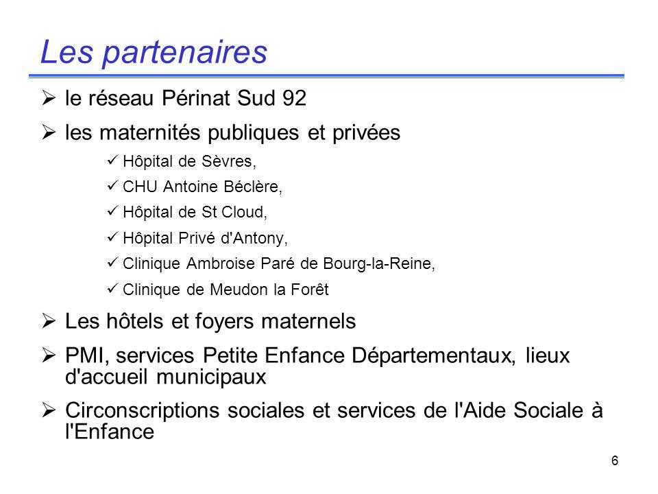 6 Les partenaires le réseau Périnat Sud 92 les maternités publiques et privées Hôpital de Sèvres, CHU Antoine Béclère, Hôpital de St Cloud, Hôpital Pr