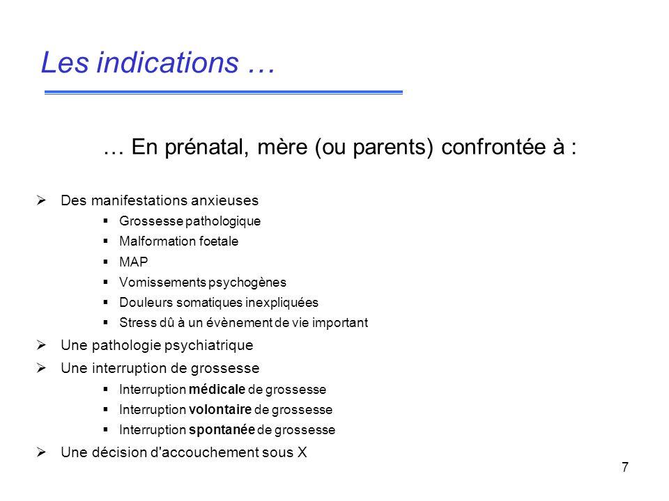 7 … En prénatal, mère (ou parents) confrontée à : Des manifestations anxieuses Grossesse pathologique Malformation foetale MAP Vomissements psychogène