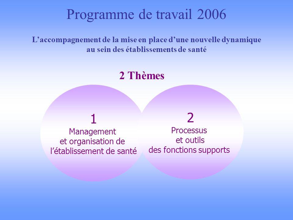 Programme de travail 2006 Laccompagnement de la mise en place dune nouvelle dynamique au sein des établissements de santé 2 Thèmes 1 Management et organisation de létablissement de santé 2 Processus et outils des fonctions supports