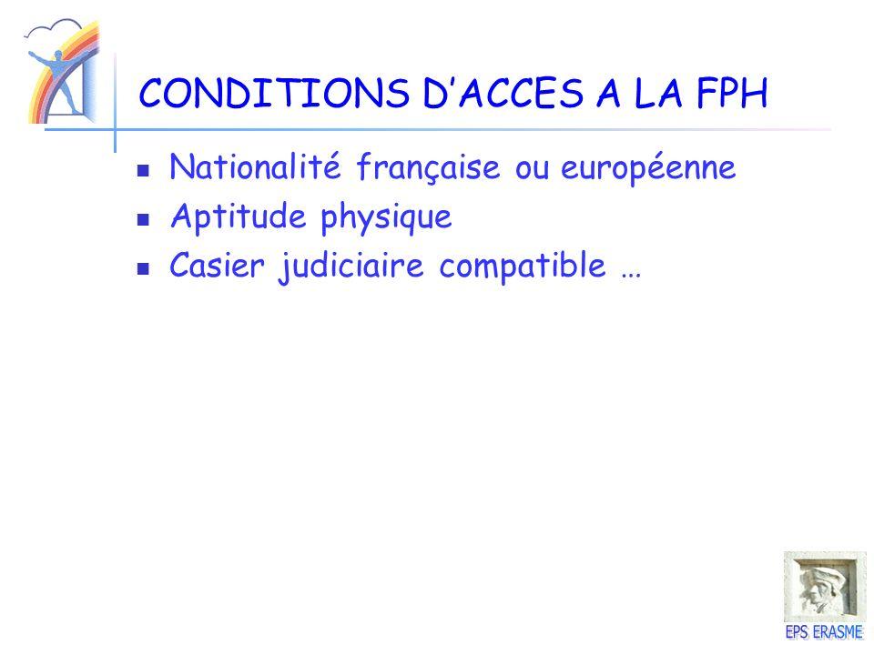 CONDITIONS DACCES A LA FPH Nationalité française ou européenne Aptitude physique Casier judiciaire compatible …