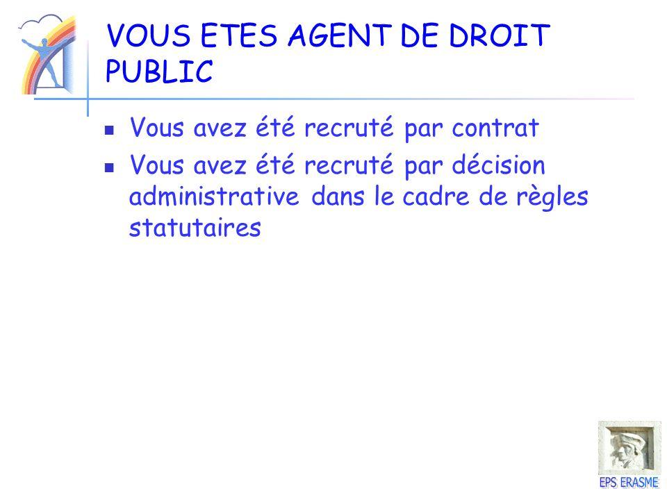 VOUS ETES AGENT DE DROIT PUBLIC Vous avez été recruté par contrat Vous avez été recruté par décision administrative dans le cadre de règles statutaire